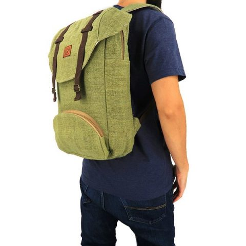 Sustainable backpack hemp green