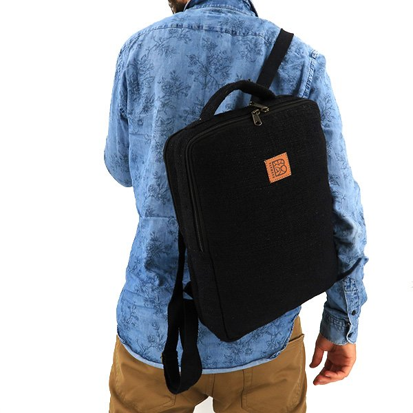 Sustainable backpack hemp black
