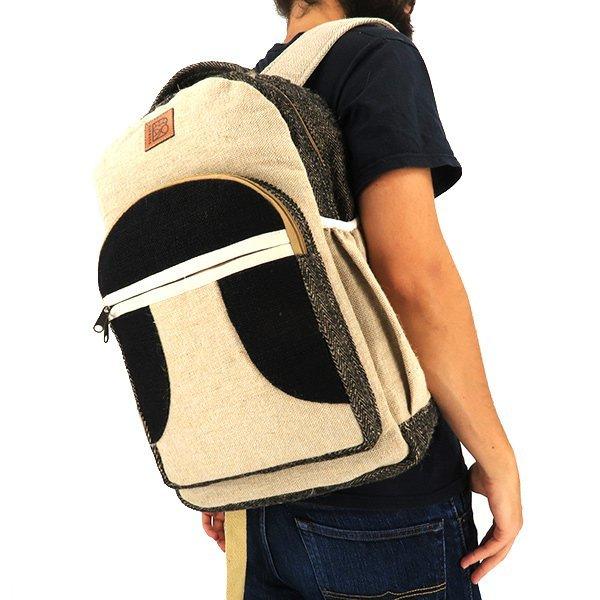 Sustainable hemp backpack black