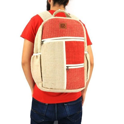 Sustainable hemp backpack red