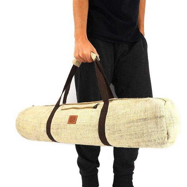 Sustainable hemp yoga mat bag natural hemp