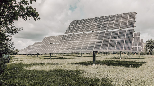 sustainable technology solar power cells in a field