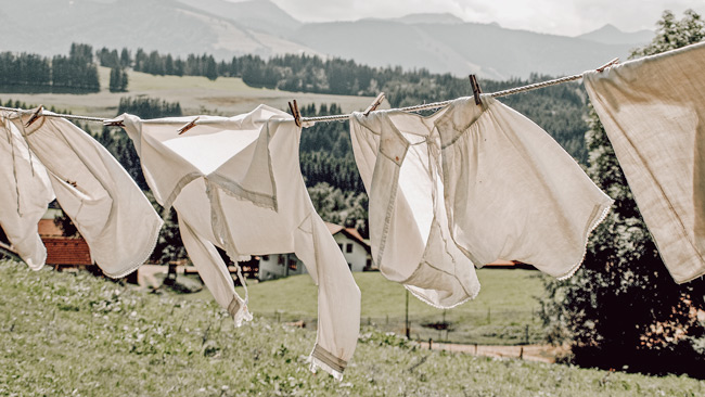 Sustainable materials on a clothes line