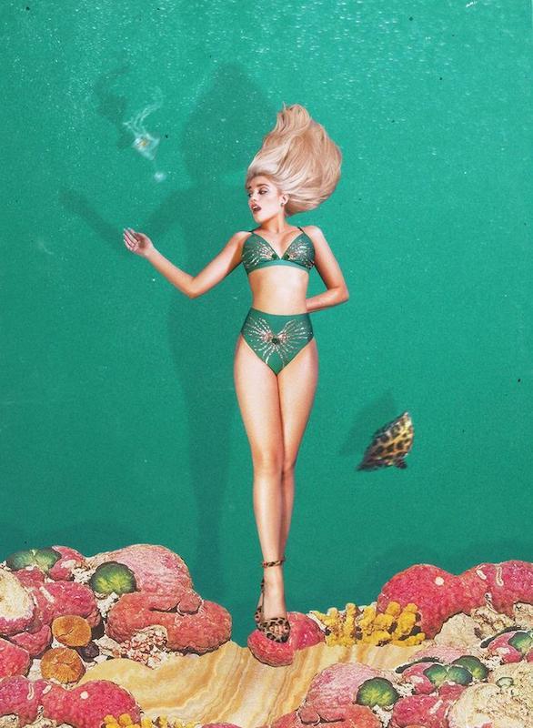 Girl wearing a green sustainable bikini by Oceanus