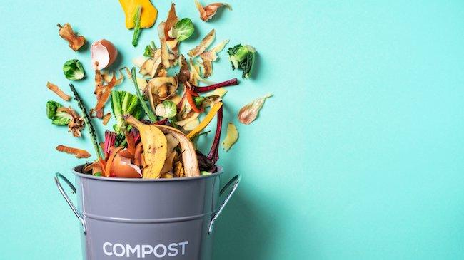 Trash bin for indoor composting with food waste on blue background.